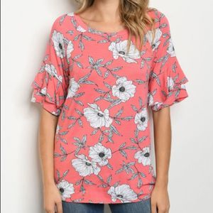 Tops - Floral Ruffle Sleeve Pink Top
